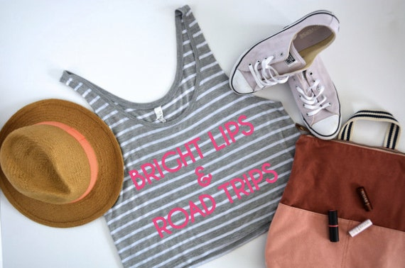 Bright Lips and Road Trips - Striped Pink Flowy Boxy Tank