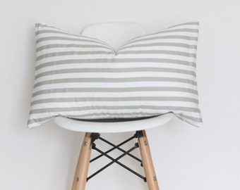 "13"" x 20"" White & Gray Striped Pillow Cover"