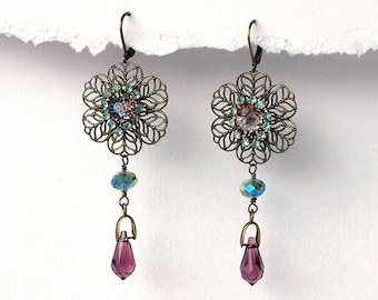 Handmade Czech glass and Swarovski earrings , filigree brass , purple and mint green faceted glass , crystal earrings , gift for her