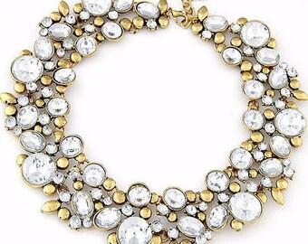 Rhinestone Decorated Garland Necklace White