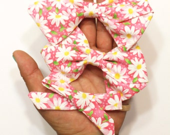 Hand-folded Pink Sunflower Fabric Hair Bows