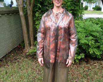 Vintage Raincoat, Translucent Tinted Plastic Raincoat, Midcentury Size 8 Size 10 Raincoat, Full Length Rain Jacket