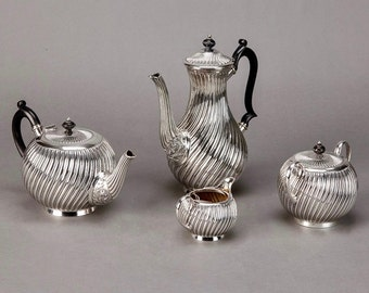 Art Deco English Four Piece Silver Plate Coffee & Tea Service [4073]