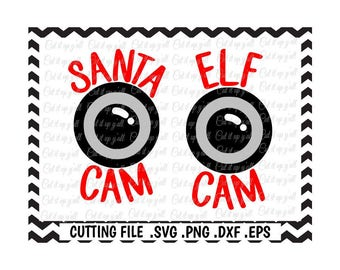 Santa Cam Svg, Elf Cam Svg-Dxf-Png-JPG-EPS, Cutting Files for Silhouette Cameo/Cricut, Svg Download.