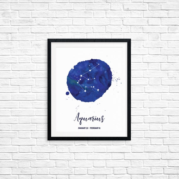 Printable Art, Aquarius, January 20-February 18, Constellation, Zodiac Symbol Art, Art Printable, Home Decor, Digital Download Print
