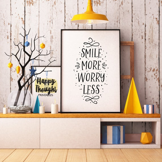 Printable Art, Smile More Worry Less, Inspirational Quote, Motivational Art, Typography Quote, Digital Download Art Print, Quote Printables