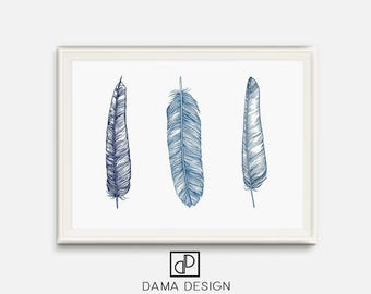 Blue Feather Art, Feather Wall Art, Navy Blue Nursery Art, Blue Prints, Feather Print, Feather Poster, Bohemian Art, Wall Art, Navy Decor