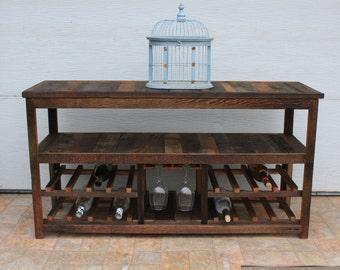 "50"" Rustic TV Stand or Sofa Table , Wine Glass Rack, Barn Wood , Entertainment Center , Farmhouse Furniture , Wine Racks , Console Table"