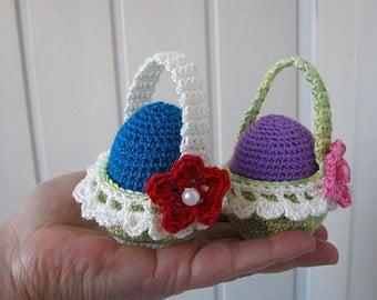 Easter baskets, Easter eggs, Easter eggs in baskets, crocheted baskets, decorations, festive breakfast, eggs handmade wooden, Easter gift.