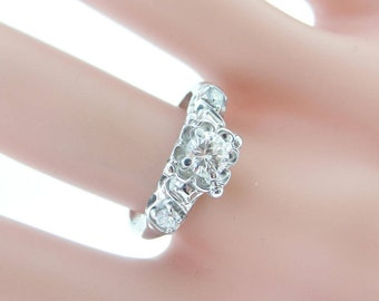 Vintage Art Deco Style Diamond Ring- 18k White Gold