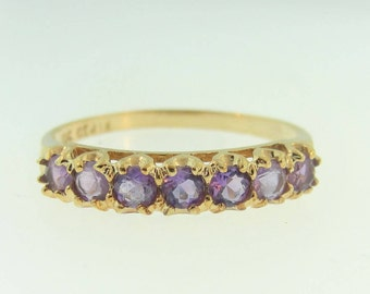 Modified Amethyst Eternity Ring - 10k Yellow Gold