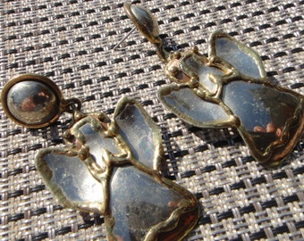vintage earrings , Guardian Angel earrings Vintage silver copper gold jewelry