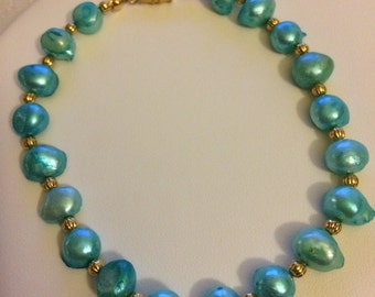 Aqua pearl anklet/bracelet