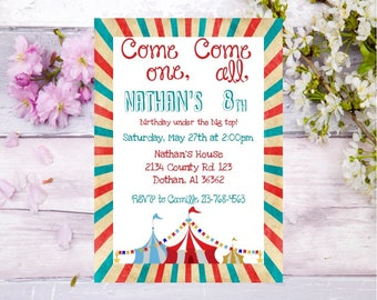 circus birthday invitation carnival birthday party invite circus theme carnival theme under the big top birthday party invite digital invite