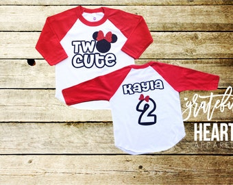 Minnie Mouse  second birthday shirt, Two birthday shirt, personalized Minnie Mouse shirt, Disney shirt, Minnie Mouse girl's shirts,two cute