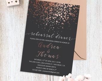 Rose Gold Wedding Rehearsal Invitation Printable Rehearsal Dinner Invitations Rose Gold Wedding Invite Custom Wedding Invitation Calligraphy