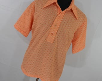Vintage 60s 70s Mens Shirt - Orange Button Down Front Polo - Short Sleeve - Dacron Polyester - Wide Collar  - M Medium - R2