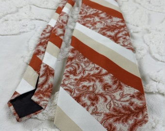Designer Collection by Regal Polyester wide neck tie 1970s 70s brown orange rust tan white diagonal stripe damask funky hipster prom
