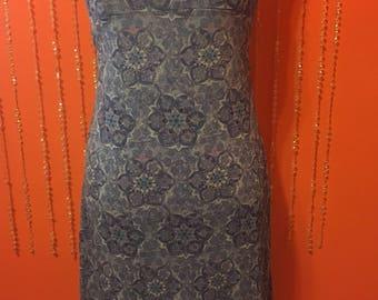 Vintage 90's blue floral spaghetti strap knee length dress