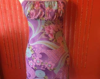 Vintage 90's short spaghetti strap dress/Pink purple floral pastel spaghetti strap mini 90s dress
