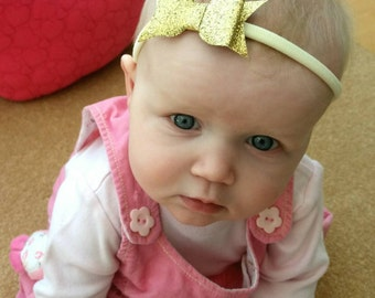 Glitter baby headband, pink, lilac, red, gold, silver, blue, green, orange, white, yellow, Uk seller