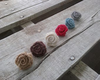 """1"""" Burlap Rosettes-set of 25, 50 or 100, Variety of Colors Small Roses, Rustic/Shabby Chic Wedding Rosettes, DIY Bulk Rosette Craft projects"""