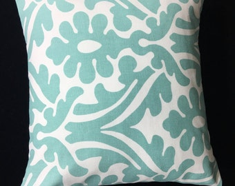 Aqua Pillow Cover, Throw Pillow, Aqua Floral Pillow Cover, Decorative Pillow, Home Decor, Accent  Pillow,  Pillow Covers, Pillow,