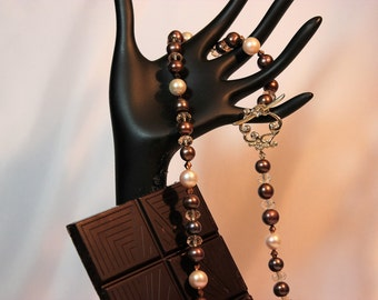 Long Chocolate Brown and Cream Freshwater Pearl Necklace