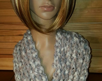Knitted Chunky Cowl, shimmer, sparkles. Handmade infinity scarf.