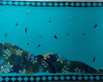 Leaves Falling on the Mountain/hand painted floor cloth/fabric overlay/nature theme/teal/diamond border