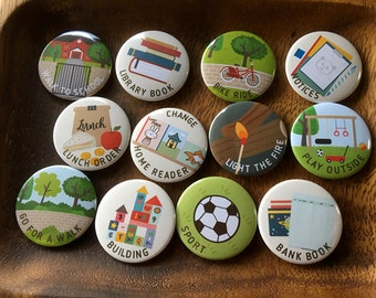 """ASSORTED Chore Magnets SET G, 1 set = 12 magnets, size 1.25"""" 32mm, Cute chore magnets, Chore magnets, kids responsibility chart, chores"""
