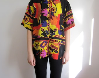 vintage 80s 90s Psychedelic graphic print ovesize shirt top S M