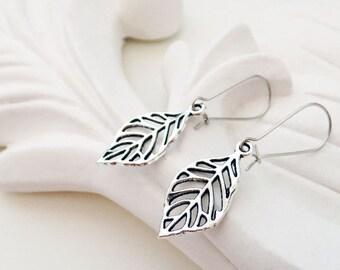 Silver Leaf Earrings   Silver Branch Earrings   Silver Cutout Earrings