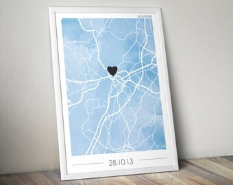 Personalised Watercolour Map Print - Choose the city and the colour! Valentines present for couples!