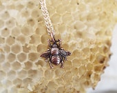 Bee necklace, layering necklace, bee layering necklace, copper bee necklace, electroformed necklace, save the bees, beekeeper jewelry