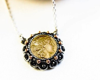 Jewelry, Necklace, Silver Coin Necklace, Men Necklace, Women Necklace, Ancient Coin Necklace, Mens Jewelry, Womens Jewelry,  Pendant