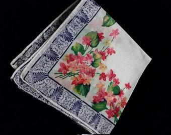 Bouquet of Pink  and Butterscotch Violets  Handkerchief with Blue Ornate Border