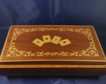 Vintage Footed  Playing Card Box  50s 60s, Hand Painted with Aces and Gold Scroll.  Standard Playing Card Box.  Mid Century Card Box.