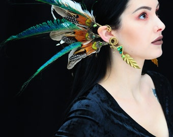 Flying Heads Double-sided feather earcuff with golden leafs, Tribal feather earcuff, Fairy feather earcuff, Bohemian double earcuff