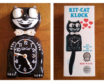 1989 Kit Cat Clock Black Jeweled Battery Operated LIMITED EDITION