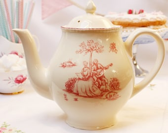 """Vintage English teapot: """"Wood and Sons"""" A classic cream pot with a romantic couple in pink, crinoline lady / southern belle."""