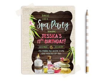 Spa party invitation, Spa Party printables, Spa Birthday Party Invitations, Spa Birthday Party, Spa theme Party, Spa invites, Spa invite,
