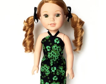 Halter Dress, Saint Patrick's Day, Shamrocks, Green, Black, 14.5, Fits dolls such as American Girl Wellie Wishers Doll Clothes