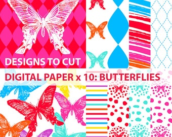 Butterflies Digital Scrapbook Papers x 10, Digital Downloads