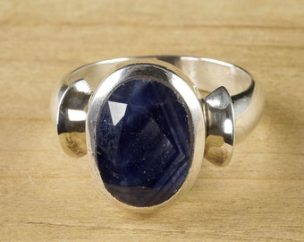 Size 8.5 Blue SAPPHIRE Ring - Sterling Silver Ring, Handmade Jewelry, Natural Sapphire Ring, Sapphire Stone Cabochon, Sapphire Jewelry J1048
