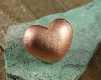 3cm COPPER Heart from Michigan, USA - Copper Gift, Copper Jewelry, Heart Shaped Stone, Copper Decorations, Copper Pendant Copper Decor E0202