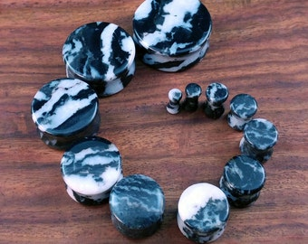 Pair of Zebra Stone Plugs / Gauges For Stretched Ears (25mm, 22mm, 19mm, 16mm, 14mm, 12mm, 10mm, 8mm, 6mm, 5mm, 4mm, 3mm)