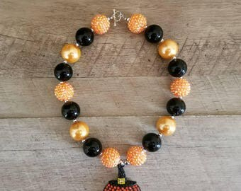 Halloween Chunky Necklace, Chunky Necklace, Bubblegum Bead Necklace, Chunky Beads, Baby Bubblegum Necklace, Pumpkin Chunky Necklace