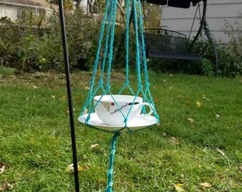Teacup Bird Feeder, Contemporary Bird Feeder, Hanging Bird Feeder, Glass Bird Feeder, Twine Hung Feeder, Squirrel Proof Feeder, Unique Bird