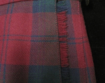 Pleated Scottish Kilt, Jedburgh Kiltmakers, Red and Green Plaid, Pure New Wool, Size USA 12, Made in Jedburgh, Scotland, Vintage